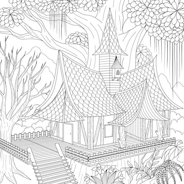 Nawiedzony dom, wesołego halloween. ilustracja Premium Wektorów