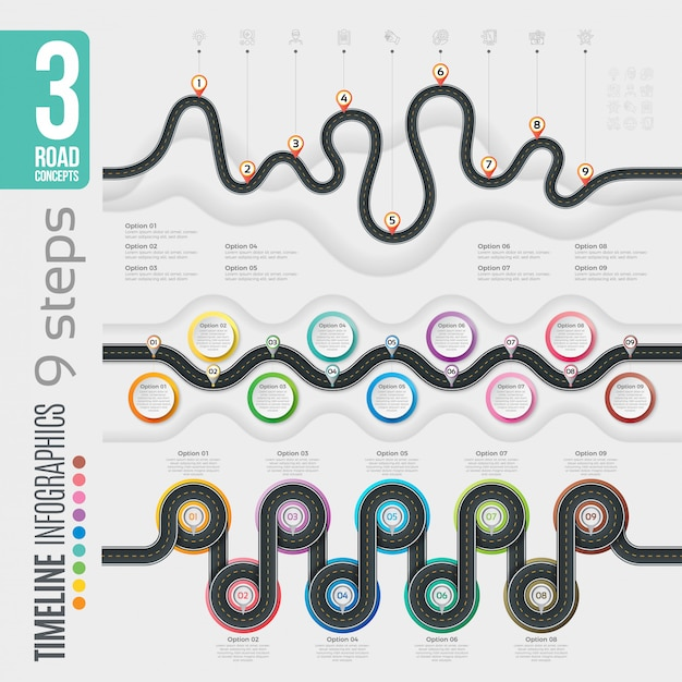 Nawigacja 9 Kroków Infografiki Osi Czasu Premium Wektorów