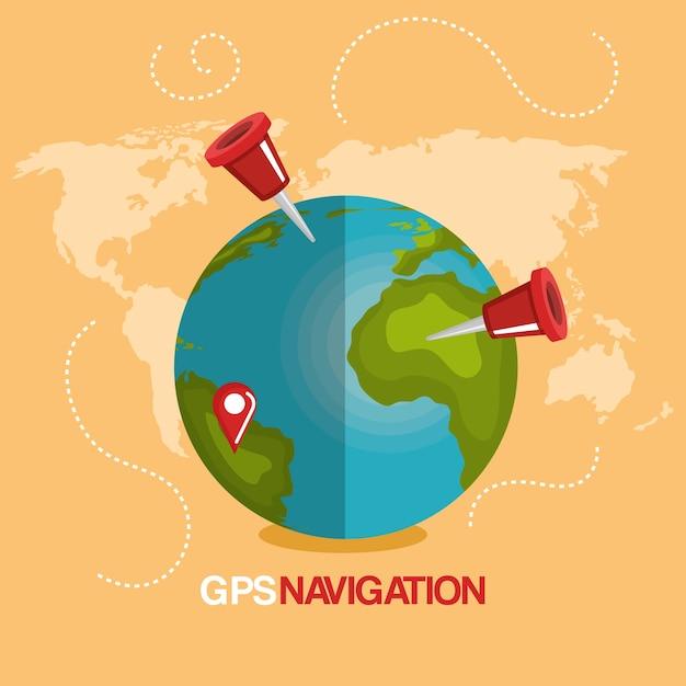 Nawigacja Gps Na światowej Planecie Premium Wektorów
