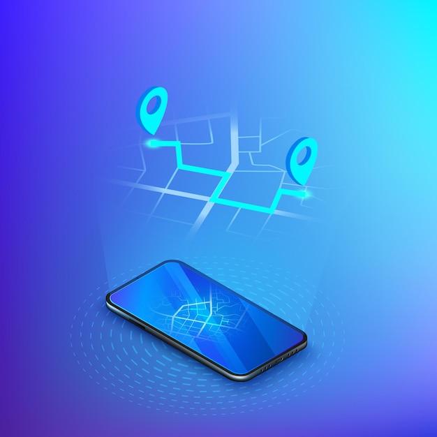 Nawigacja Lub Gps W Telefonie Komórkowym. Usługa Dostawy Izometryczna. Aplikacja Mobilna Taxi Lub Wysyłka. Premium Wektorów