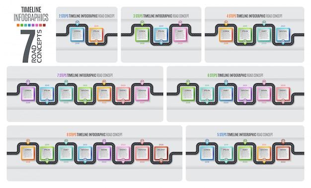 Nawigacja Mapa Infografika Osi Czasu Koncepcji Premium Wektorów