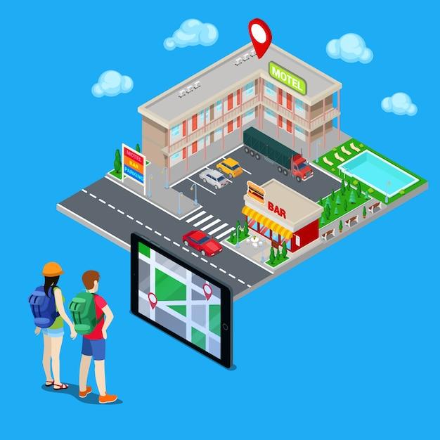 Nawigacja mobilna. para turystów poszukujących hotelu w mieście. miasto izometryczne. ilustracji wektorowych Premium Wektorów