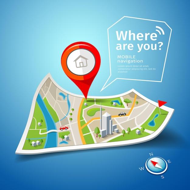 Nawigacja Po Złożonych Mapach Z Tłem W Kolorze Czerwonym Premium Wektorów