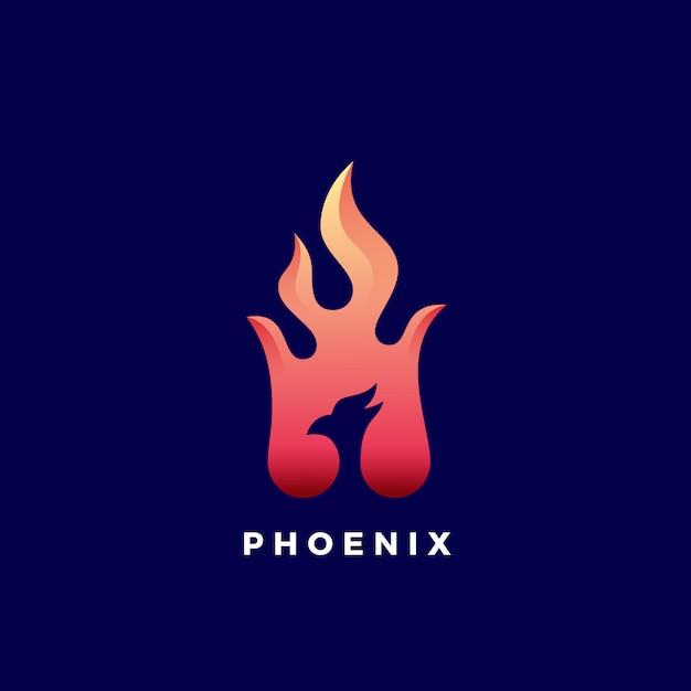 Negatywnej Przestrzeni Phoenix Płomień Streszczenie Znak, Symbol Lub Logo Szablon. żywe Gradienty Kolorów. Premium Wektorów