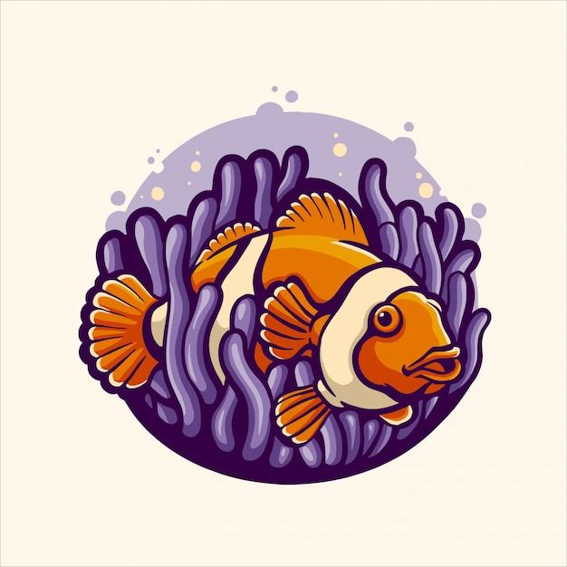 Nemo Fish In Anemon Premium Wektorów