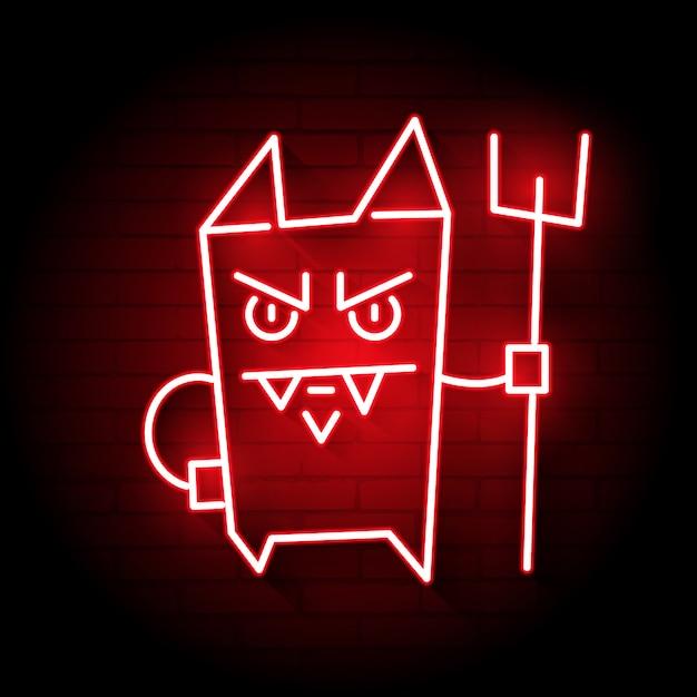 Neon Cartoon Devil Premium Wektorów