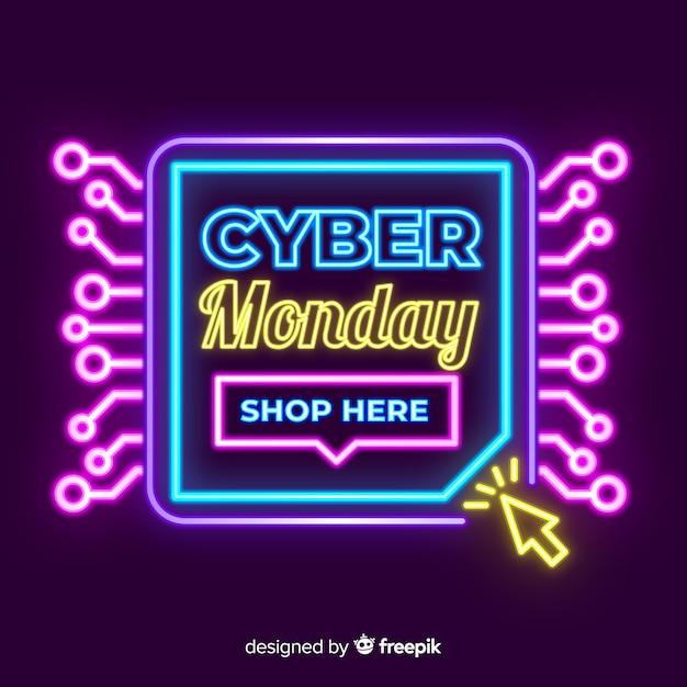 Neon Cyber Poniedziałek Sprzedaż Transparent Darmowych Wektorów