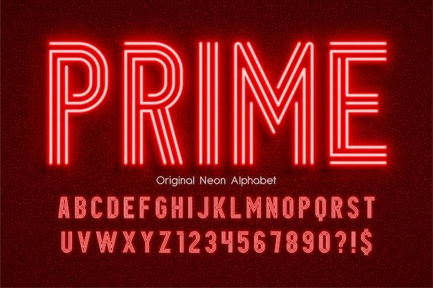 Neon Light 3d Alfabetu, Dodatkowo świecący Nowoczesny Typ. Kontrola Koloru Próbki. Premium Wektorów