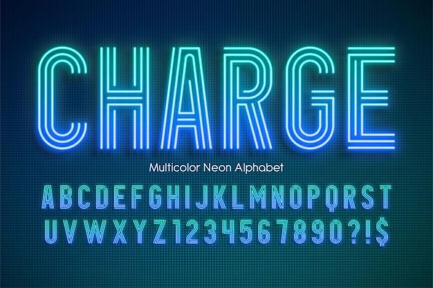 Neon Light Multicolor Alfabet świecący Szablon Moderntypeset Premium Wektorów