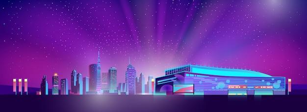 Neon oświetlony supermarket poza miastem Darmowych Wektorów