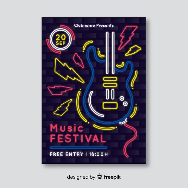 Neon Plakat Festiwal Muzyczny Szablon Darmowych Wektorów