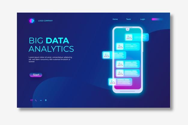 Neon strony docelowej ze smartfonem Darmowych Wektorów