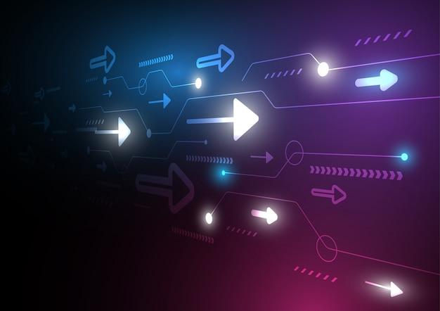 Neon strzałka prędkości i technologii danych ładowania streszczenie z kolorowym tłem Premium Wektorów
