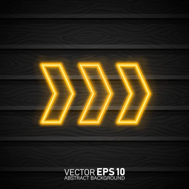 Neon świecące wskaźnik strzałki na ciemności. Premium Wektorów