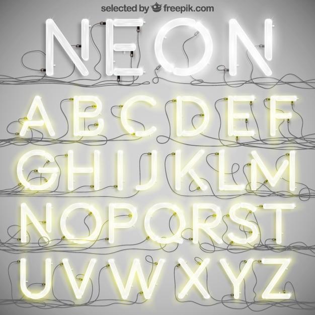 Neon typografia Darmowych Wektorów