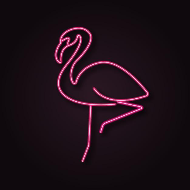 Neon Wektor Flamingo Premium Wektorów