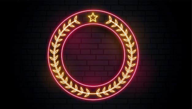Neon wieniec laurowy znak Darmowych Wektorów