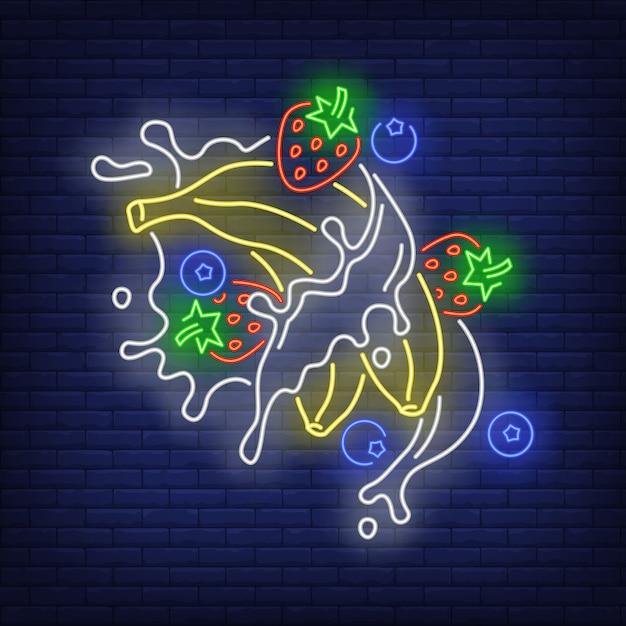 Neon znak bananów, truskawek, jagód i plamy Darmowych Wektorów