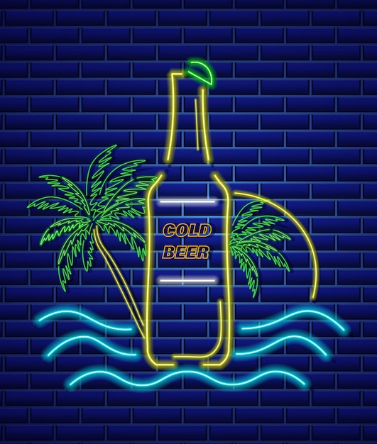 Neon znak butelki piwa Premium Wektorów