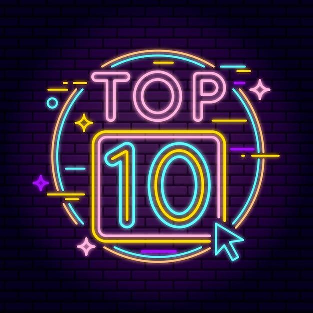 Neonowa 10 Najlepszych Ilustracji Darmowych Wektorów