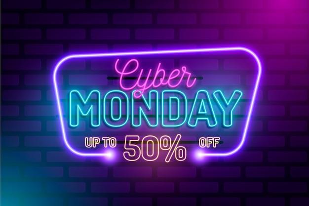 Neonowa Koncepcja Cyber Poniedziałek Darmowych Wektorów