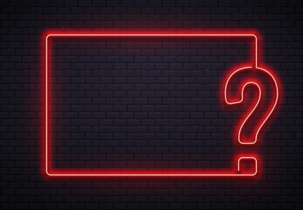 Neonowa Ramka Ze Znakiem Zapytania. Quizu Oświetlenie, Przesłuchanie Punktu Czerwona Neonowa Lampa Na Cegły ściany Tekstury Tła Ilustraci Premium Wektorów