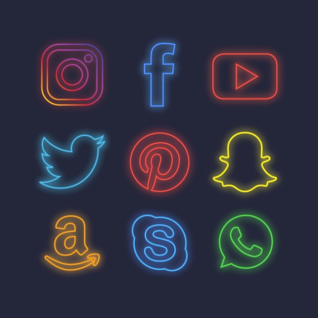Neonowe ikony mediów społecznościowych Darmowych Wektorów