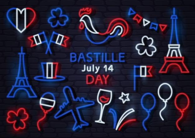 Neonowe Ikony Na Dzień Bastylii We Francji 14 Lipca. Ilustracja Premium Wektorów