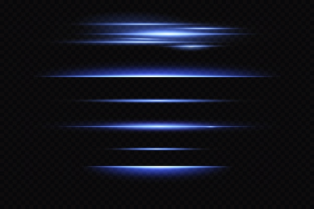 Neonowe Linie Poziome, Efekt świetlny, świecący Laser. Premium Wektorów