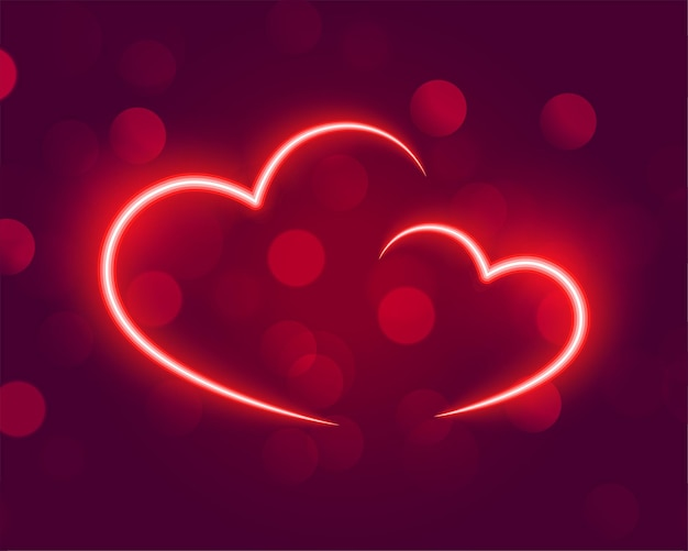 Neonowe świecące Serca Na Tle Bokeh Darmowych Wektorów