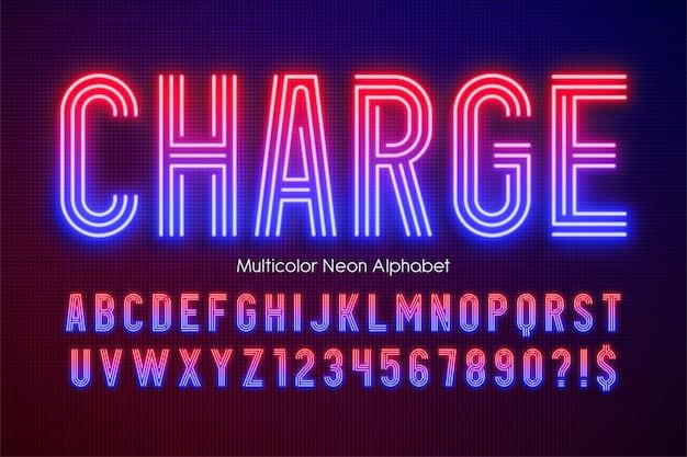 Neonowe Wielokolorowe Litery Alfabetu, Dodatkowo świecące, Nowoczesne. Kontrola Koloru Próbki. Premium Wektorów