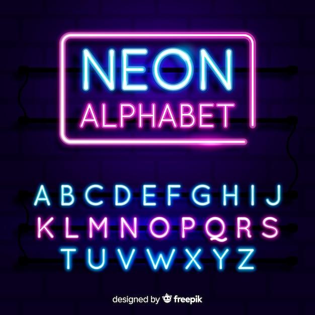 Neonowy Alfabet Darmowych Wektorów