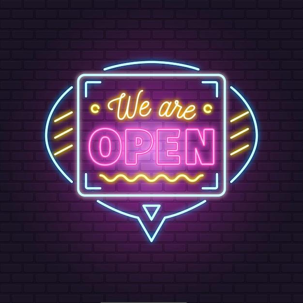 """Neonowy Napis """"we Are Open"""" Na Ceglanej ścianie Darmowych Wektorów"""