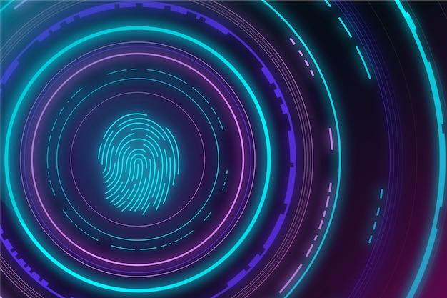 Neonowy odcisk palca w tle Darmowych Wektorów