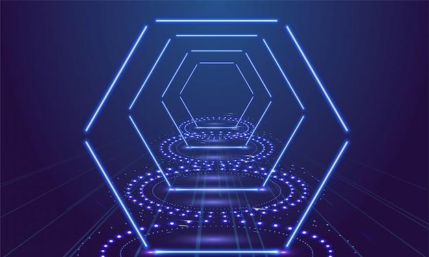 Neonowy przedstawienie światła podium błękita tło. ilustracji wektorowych Premium Wektorów