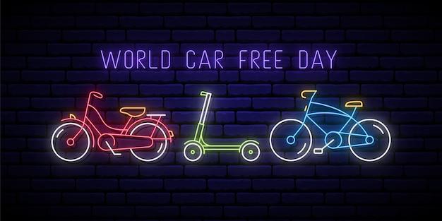 Neonowy Szyld światowy Dzień Bez Samochodu. Premium Wektorów