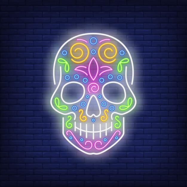 Neonowy znak czaszki cukru Darmowych Wektorów