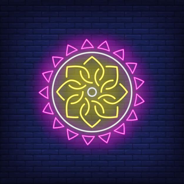 Neonowy znak etniczne okrągły wzór mandali Darmowych Wektorów