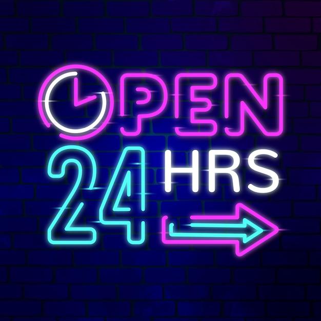 """Neonowy Znak """"otwarte 24 Godziny"""" Premium Wektorów"""