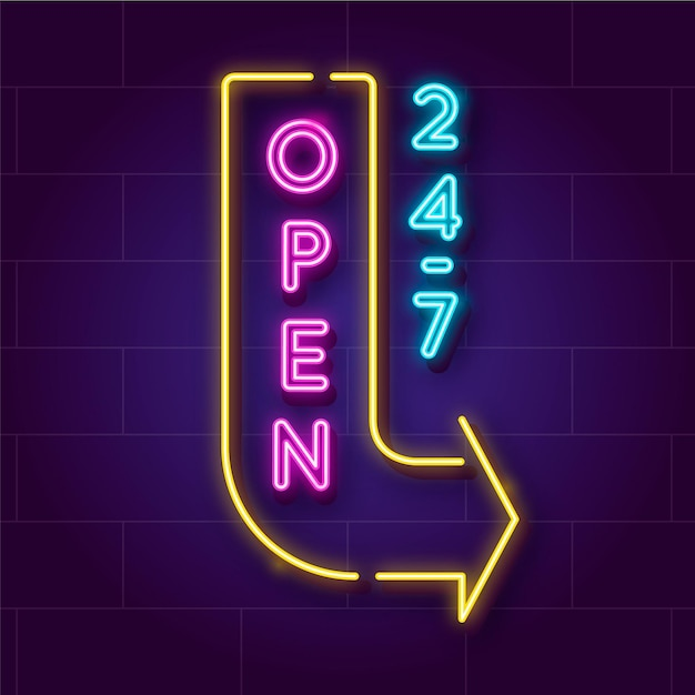 Neonowy Znak Otwarty Przez Całą Dobę Darmowych Wektorów