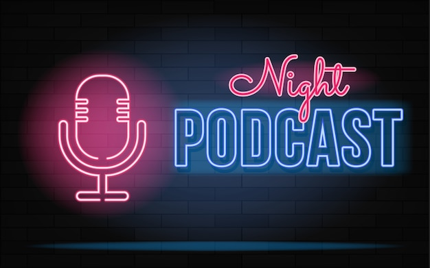 Neonowy Znak Podcastu. Mikrofon Na Tle Ceglanego Muru. Premium Wektorów