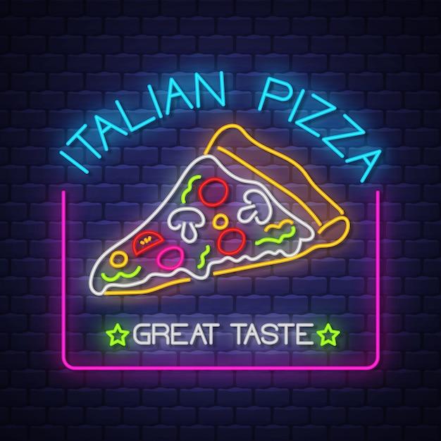 Neonowy Znak Włoskiej Pizzy Premium Wektorów