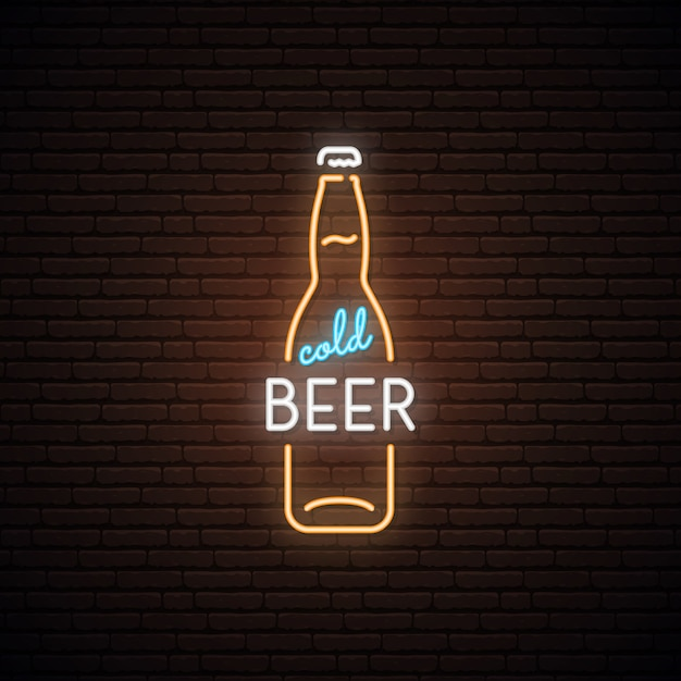 Neonowy znak zimnego piwa. Premium Wektorów