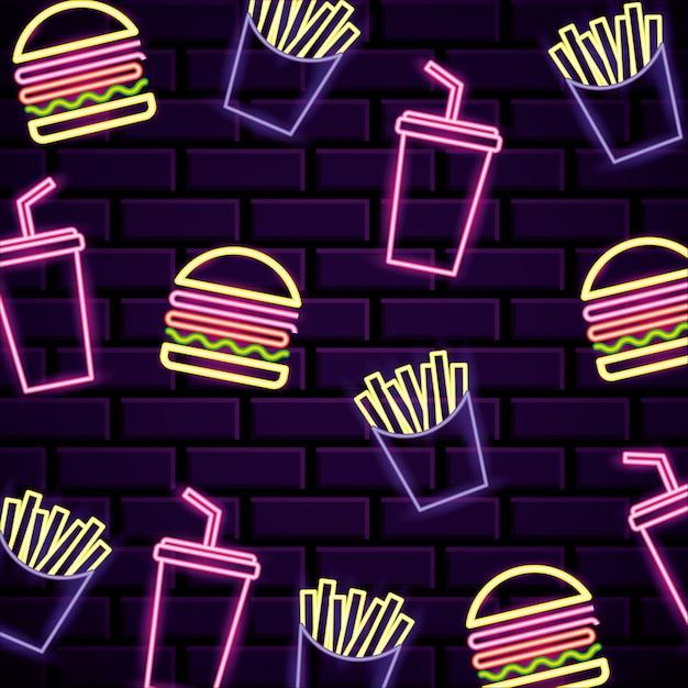 Neony z fast foodów Premium Wektorów