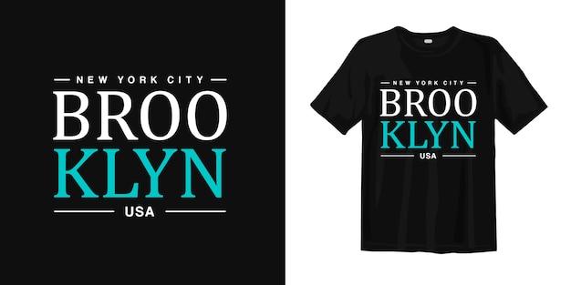 New York City, Brooklyn Usa T Shirt Design Typografia Miejskiego Stylu Premium Wektorów