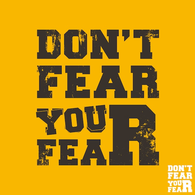 Nie Bój Się Swojego Strachu - Zacytuj Motywacyjny Kwadratowy Szablon. Naklejka Inspirujące Cytaty. Ilustracja Premium Wektorów