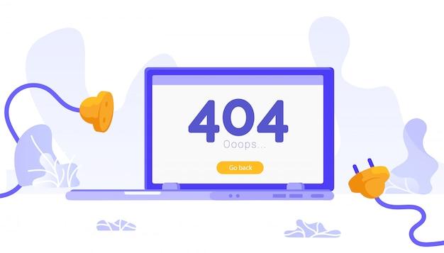 Nie znaleziono strony błąd 404. odłączona wtyczka i gniazdo elektryczne. Premium Wektorów