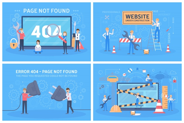 Nie Znaleziono Strony Błędu 404 - Zestaw Koncepcji. Premium Wektorów