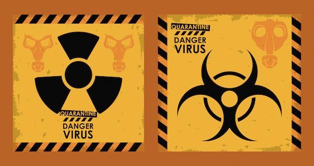 Niebezpieczny Wirus Z Symbolami Zagrożenia Biologicznego I Nuklearnymi Premium Wektorów