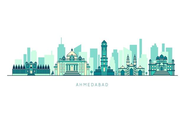 Niebieska Ahmedabad Skyline Z Budynkami Darmowych Wektorów